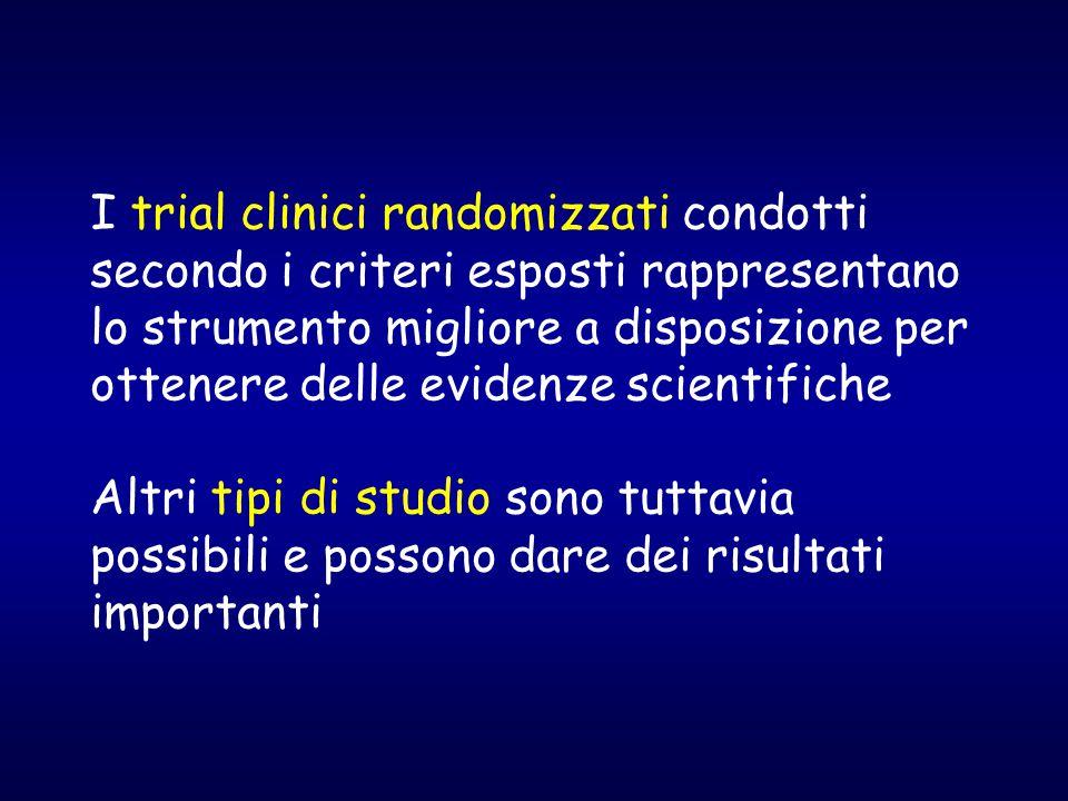 I trial clinici randomizzati condotti secondo i criteri esposti rappresentano lo strumento migliore a disposizione per ottenere delle evidenze scientifiche Altri tipi di studio sono tuttavia possibili e possono dare dei risultati importanti