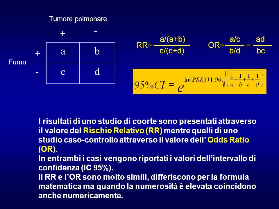 I risultati di uno studio di coorte sono presentati attraverso il valore del Rischio Relativo (RR) mentre quelli di uno studio caso-controllo attraverso il valore dell' Odds Ratio (OR).