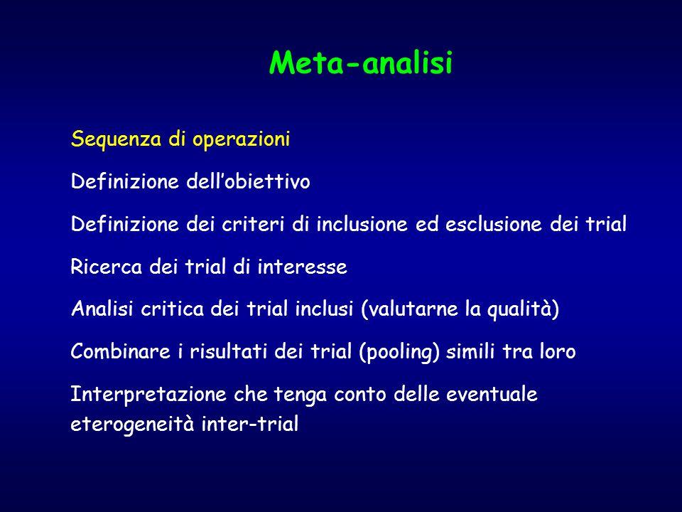 Meta-analisi Sequenza di operazioni Definizione dell'obiettivo Definizione dei criteri di inclusione ed esclusione dei trial Ricerca dei trial di interesse Analisi critica dei trial inclusi (valutarne la qualità) Combinare i risultati dei trial (pooling) simili tra loro Interpretazione che tenga conto delle eventuale eterogeneità inter-trial