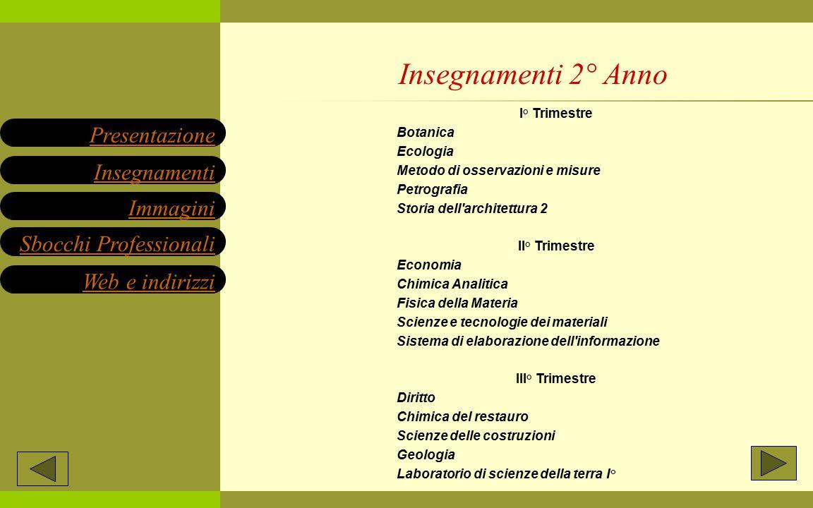 I° Trimestre Botanica Ecologia Metodo di osservazioni e misure Petrografia Storia dell'architettura 2 II° Trimestre Economia Chimica Analitica Fisica