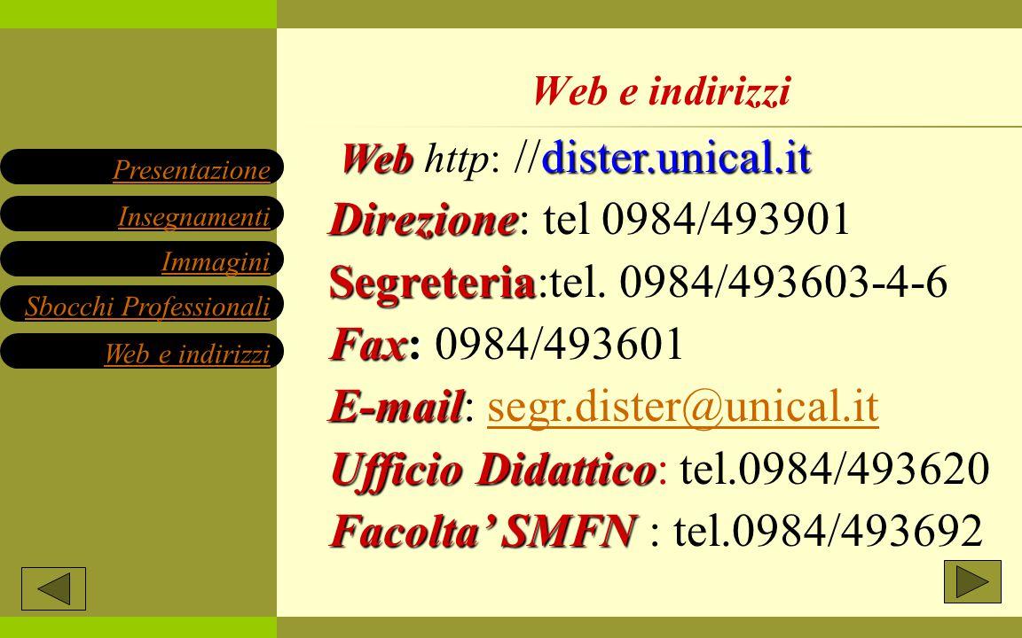 Web dister.unical.it Web http: //dister.unical.it Direzione Direzione: tel 0984/493901 Segreteria Segreteria:tel. 0984/493603-4-6 Fax: Fax: 0984/49360