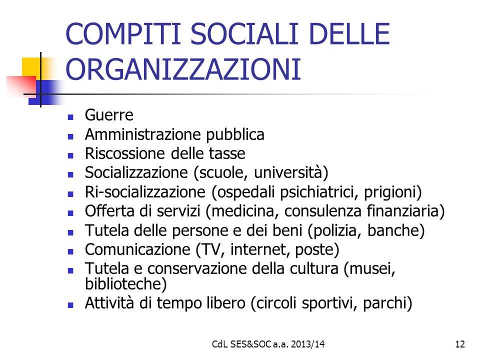 CdL SES&SOC a.a. 2013/1412 COMPITI SOCIALI DELLE ORGANIZZAZIONI Guerre Amministrazione pubblica Riscossione delle tasse Socializzazione (scuole, unive