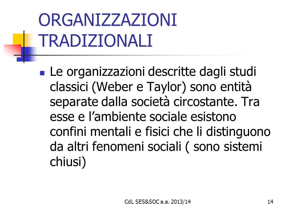 CdL SES&SOC a.a. 2013/1414 ORGANIZZAZIONI TRADIZIONALI Le organizzazioni descritte dagli studi classici (Weber e Taylor) sono entità separate dalla so