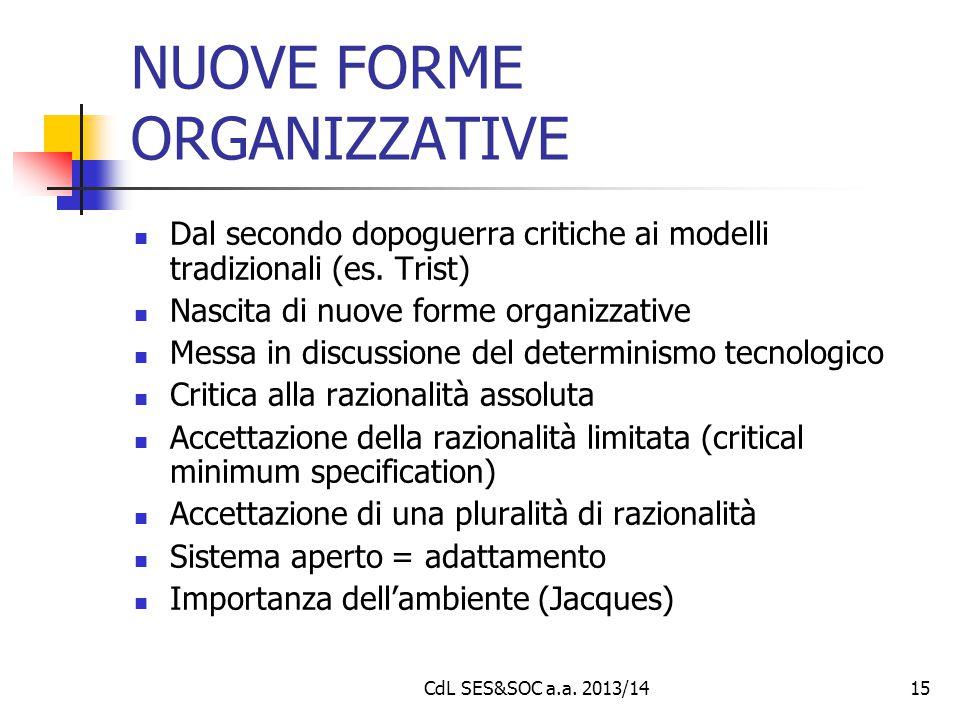 CdL SES&SOC a.a. 2013/1415 NUOVE FORME ORGANIZZATIVE Dal secondo dopoguerra critiche ai modelli tradizionali (es. Trist) Nascita di nuove forme organi