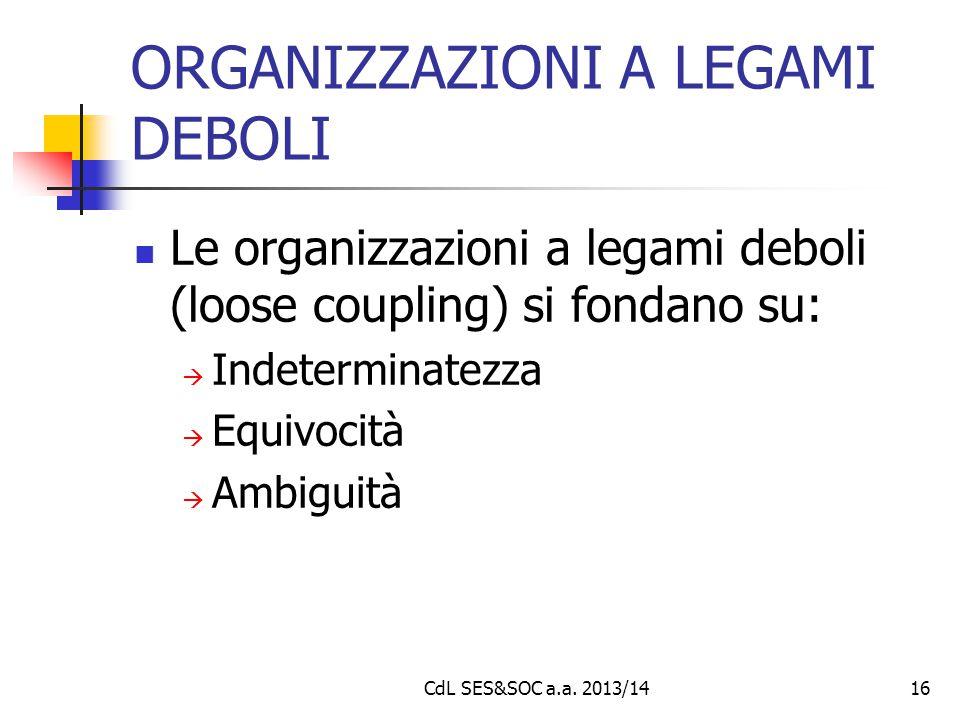 CdL SES&SOC a.a. 2013/1416 ORGANIZZAZIONI A LEGAMI DEBOLI Le organizzazioni a legami deboli (loose coupling) si fondano su:  Indeterminatezza  Equiv