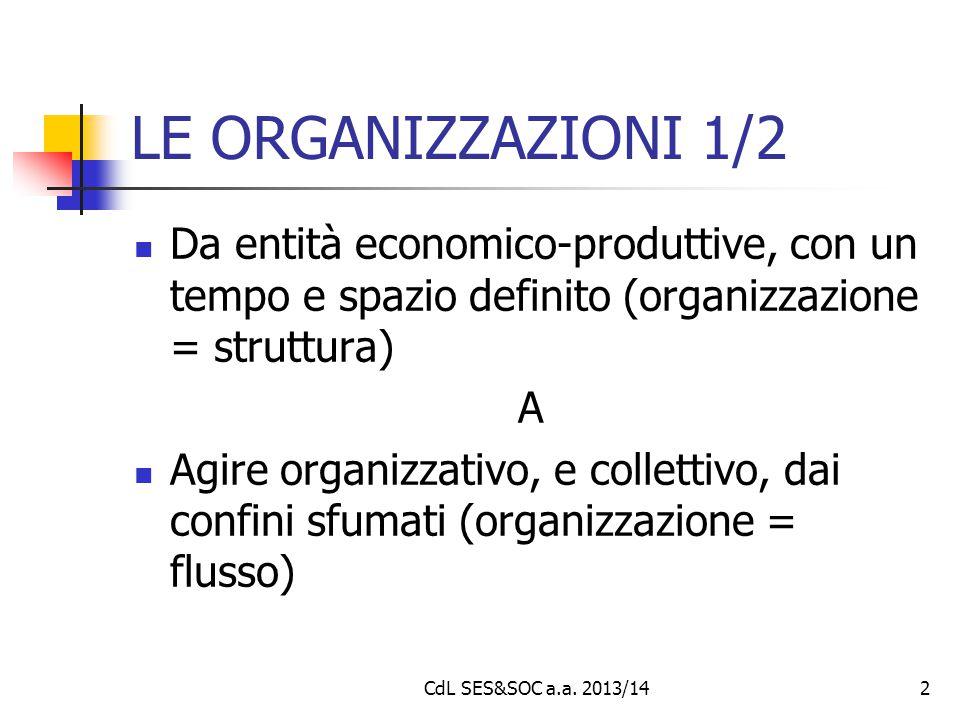 CdL SES&SOC a.a. 2013/142 LE ORGANIZZAZIONI 1/2 Da entità economico-produttive, con un tempo e spazio definito (organizzazione = struttura) A Agire or