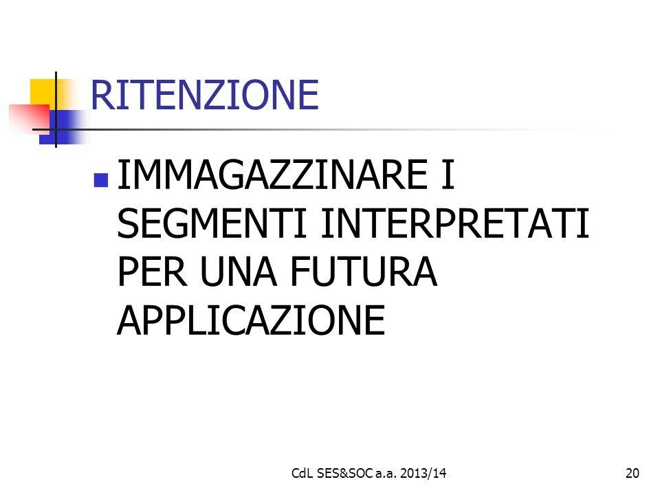 CdL SES&SOC a.a. 2013/1420 RITENZIONE IMMAGAZZINARE I SEGMENTI INTERPRETATI PER UNA FUTURA APPLICAZIONE