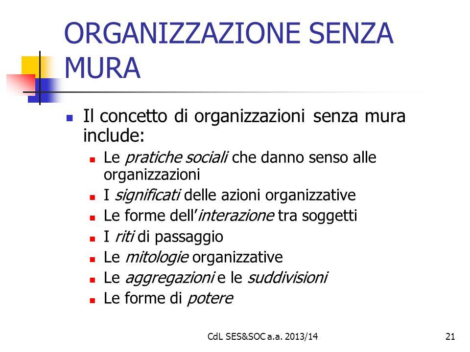 CdL SES&SOC a.a. 2013/1421 ORGANIZZAZIONE SENZA MURA Il concetto di organizzazioni senza mura include: Le pratiche sociali che danno senso alle organi