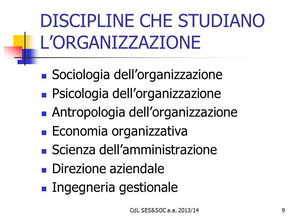 CdL SES&SOC a.a. 2013/149 DISCIPLINE CHE STUDIANO L'ORGANIZZAZIONE Sociologia dell'organizzazione Psicologia dell'organizzazione Antropologia dell'org