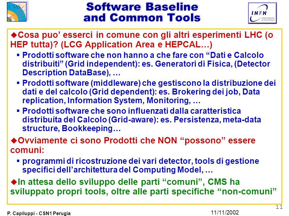 11 P. Capiluppi - CSN1 Perugia 11/11/2002 Software Baseline and Common Tools u Cosa puo' esserci in comune con gli altri esperimenti LHC (o HEP tutta)