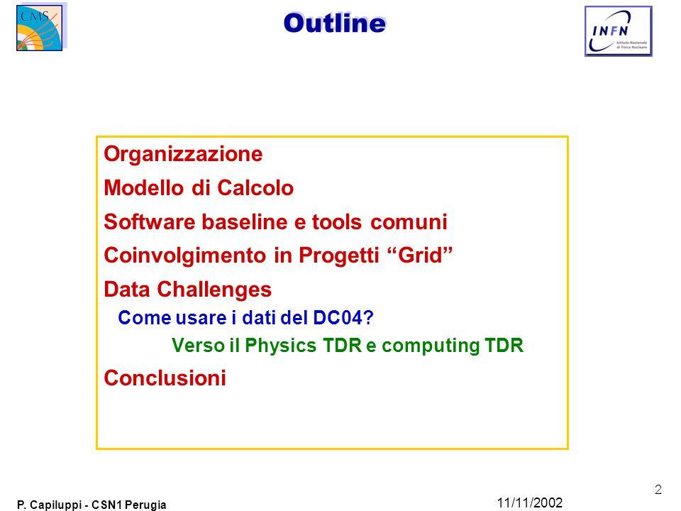 """2 P. Capiluppi - CSN1 Perugia 11/11/2002 Outline Organizzazione Modello di Calcolo Software baseline e tools comuni Coinvolgimento in Progetti """"Grid"""""""