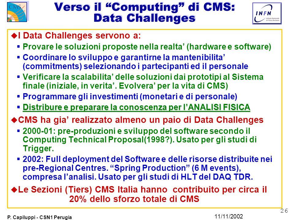 """26 P. Capiluppi - CSN1 Perugia 11/11/2002 Verso il """"Computing"""" di CMS: Data Challenges u I Data Challenges servono a:  Provare le soluzioni proposte"""