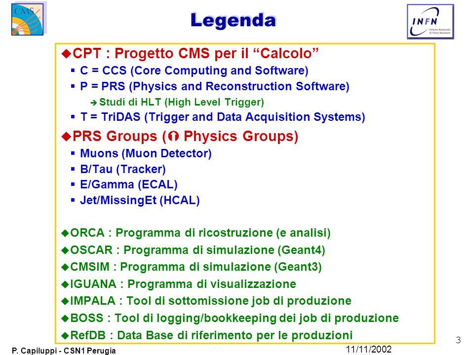 """3 P. Capiluppi - CSN1 Perugia 11/11/2002 Legenda u CPT : Progetto CMS per il """"Calcolo""""  C = CCS (Core Computing and Software)  P = PRS (Physics and"""