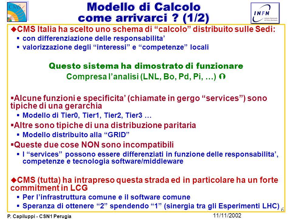 """6 P. Capiluppi - CSN1 Perugia 11/11/2002 Modello di Calcolo come arrivarci ? (1/2) u CMS Italia ha scelto uno schema di """"calcolo"""" distribuito sulle Se"""