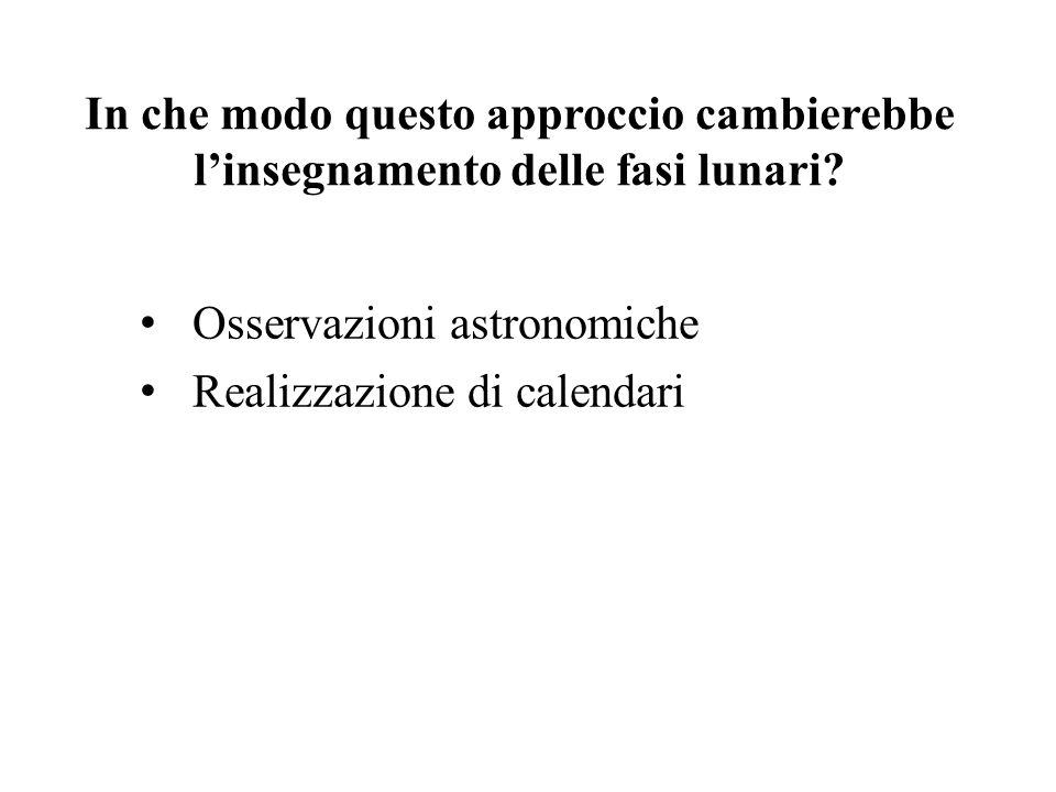 In che modo questo approccio cambierebbe l'insegnamento delle fasi lunari? Osservazioni astronomiche Realizzazione di calendari