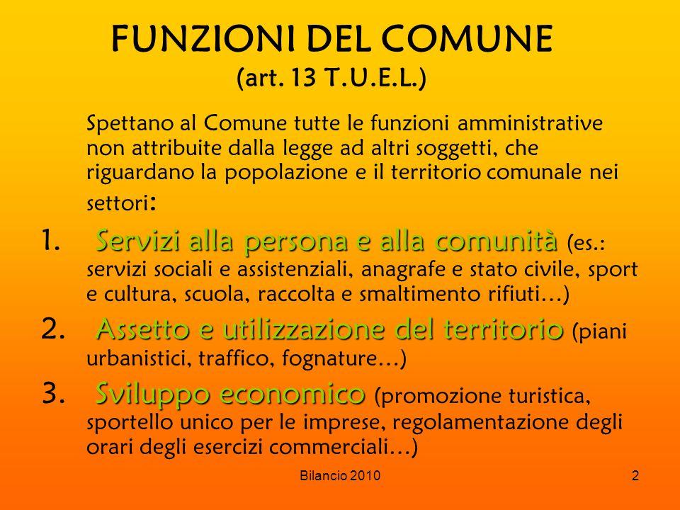 Bilancio 20102 FUNZIONI DEL COMUNE (art.