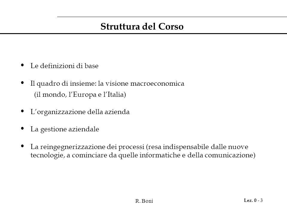 R. Boni Lez. 0 - 3 Struttura del Corso Le definizioni di base Il quadro di insieme: la visione macroeconomica (il mondo, l'Europa e l'Italia) L'organi