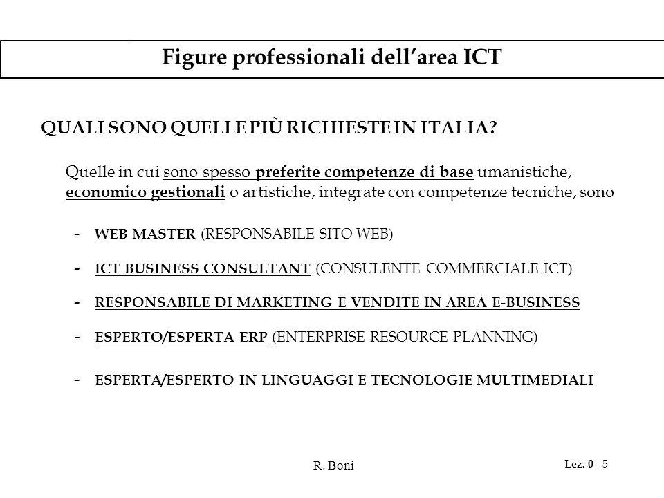 R. Boni Lez. 0 - 5 Figure professionali dell'area ICT QUALI SONO QUELLE PIÙ RICHIESTE IN ITALIA? Quelle in cui sono spesso preferite competenze di bas