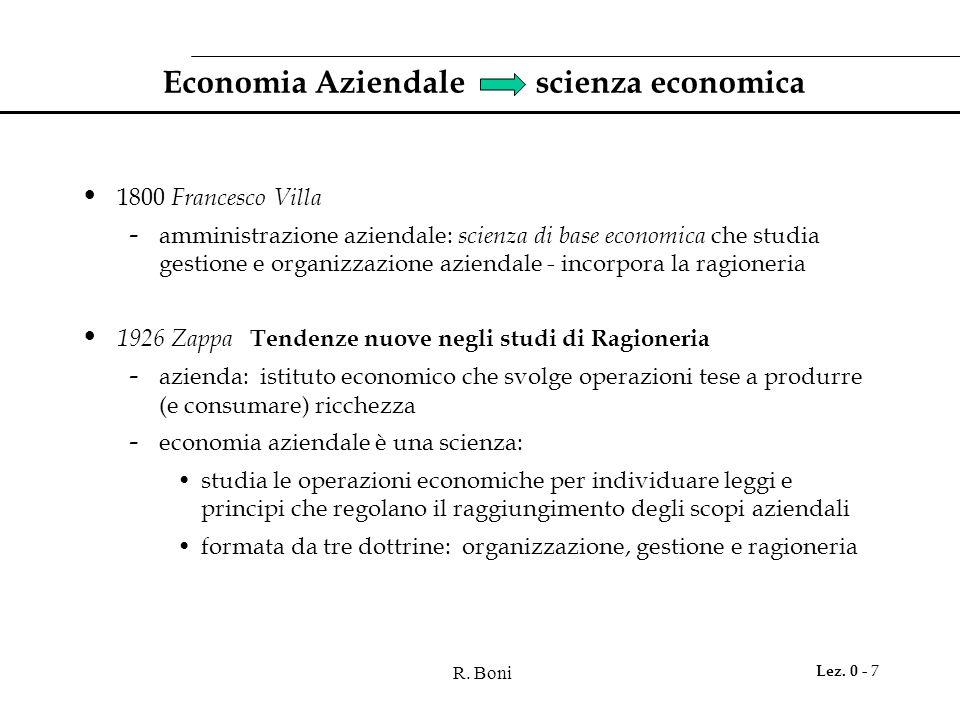 R. Boni Lez. 0 - 7 Economia Aziendale scienza economica 1800 Francesco Villa - amministrazione aziendale: scienza di base economica che studia gestion