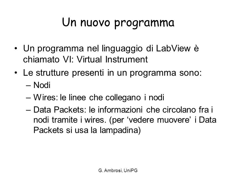 G. Ambrosi, UniPG Un nuovo programma Un programma nel linguaggio di LabView è chiamato VI: Virtual Instrument Le strutture presenti in un programma so