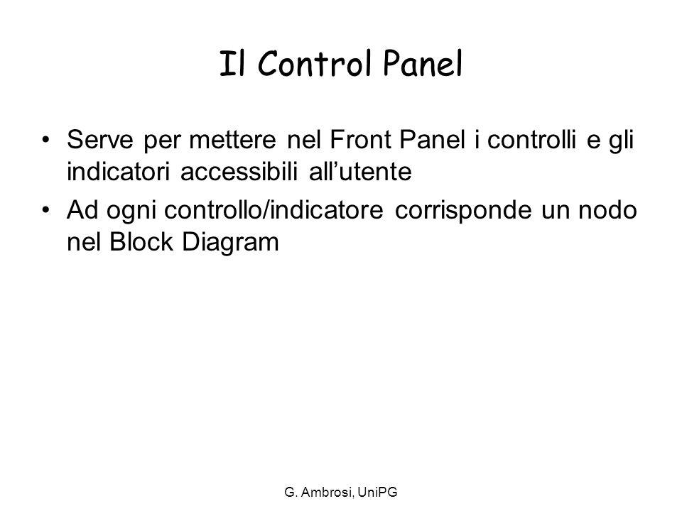 G. Ambrosi, UniPG Il Control Panel Serve per mettere nel Front Panel i controlli e gli indicatori accessibili all'utente Ad ogni controllo/indicatore