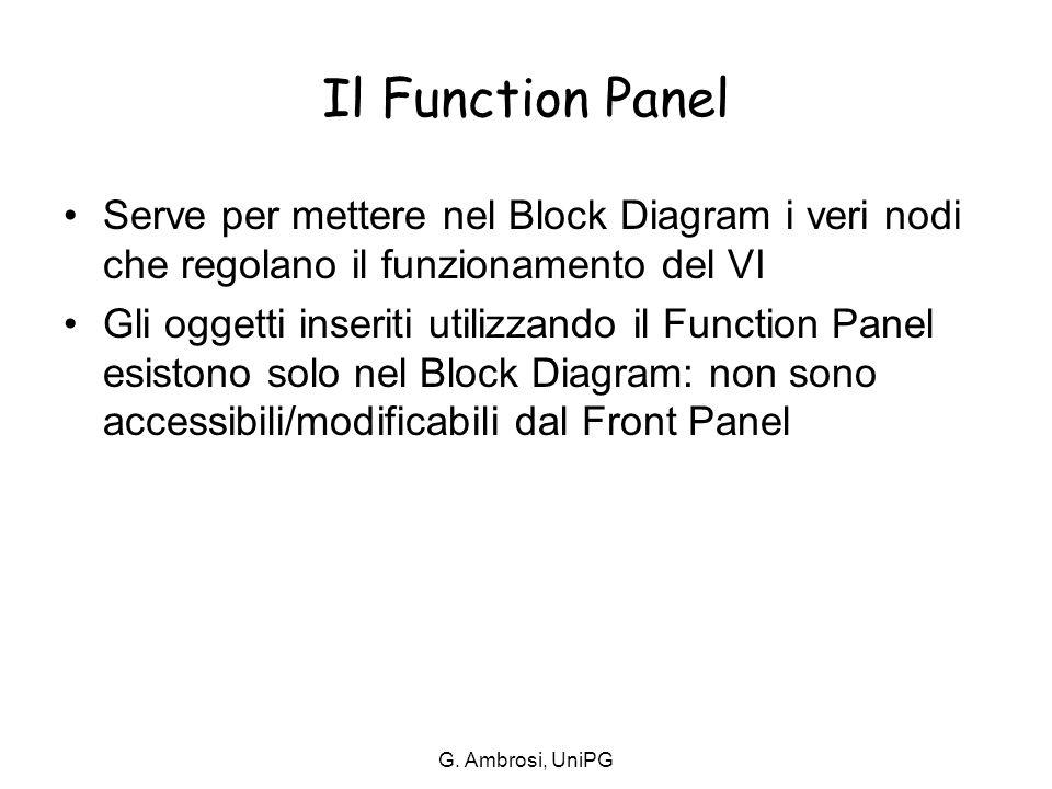 G. Ambrosi, UniPG Il Function Panel Serve per mettere nel Block Diagram i veri nodi che regolano il funzionamento del VI Gli oggetti inseriti utilizza