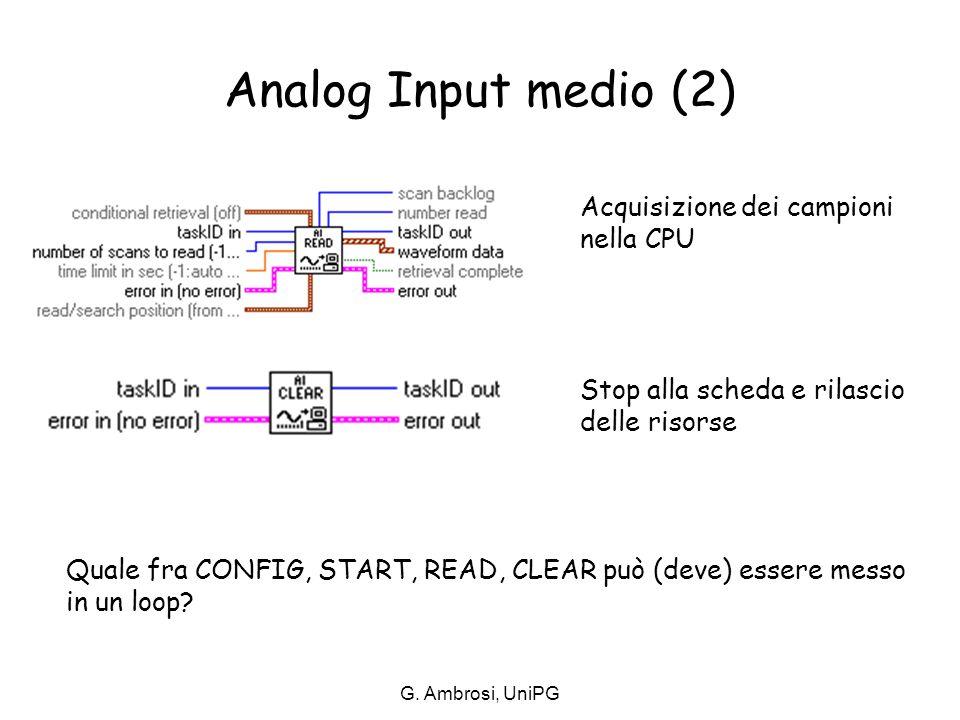 G. Ambrosi, UniPG Analog Input medio (2) Acquisizione dei campioni nella CPU Stop alla scheda e rilascio delle risorse Quale fra CONFIG, START, READ,