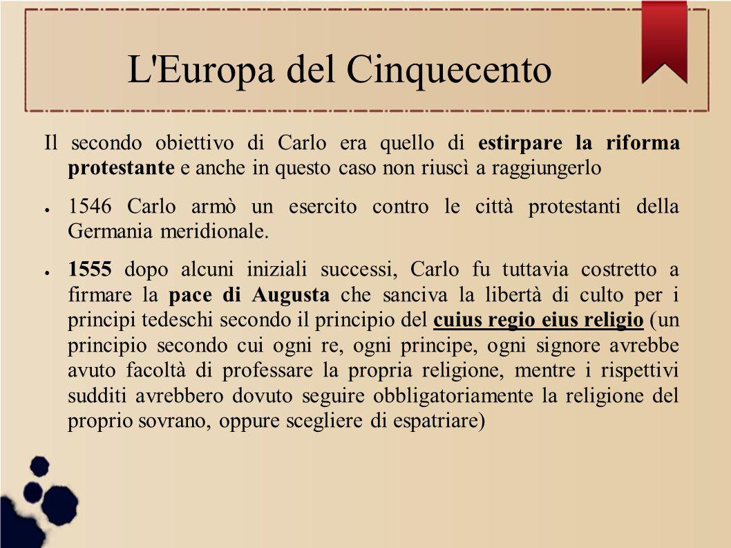 Il secondo obiettivo di Carlo era quello di estirpare la riforma protestante e anche in questo caso non riuscì a raggiungerlo ● 1546 Carlo armò un ese
