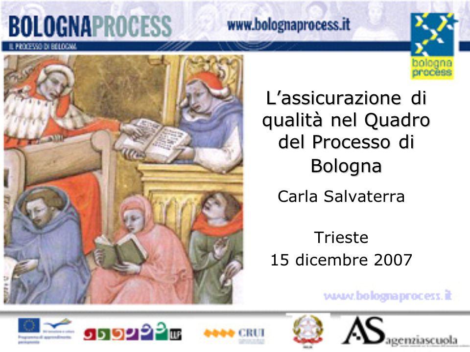 L'assicurazione di qualità nel Quadro del Processo di Bologna Carla Salvaterra Trieste 15 dicembre 2007