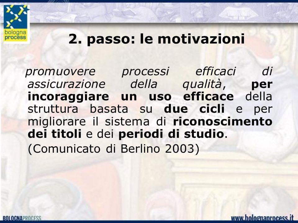 2. passo: le motivazioni promuovere processi efficaci di assicurazione della qualità, per incoraggiare un uso efficace della struttura basata su due c