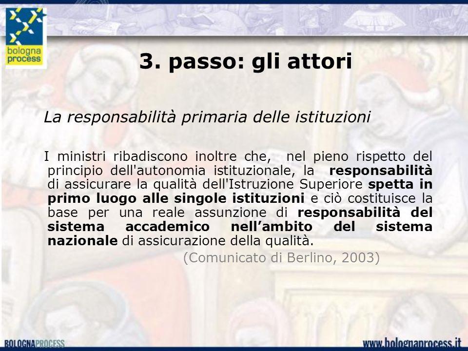 3. passo: gli attori La responsabilità primaria delle istituzioni I ministri ribadiscono inoltre che, nel pieno rispetto del principio dell'autonomia