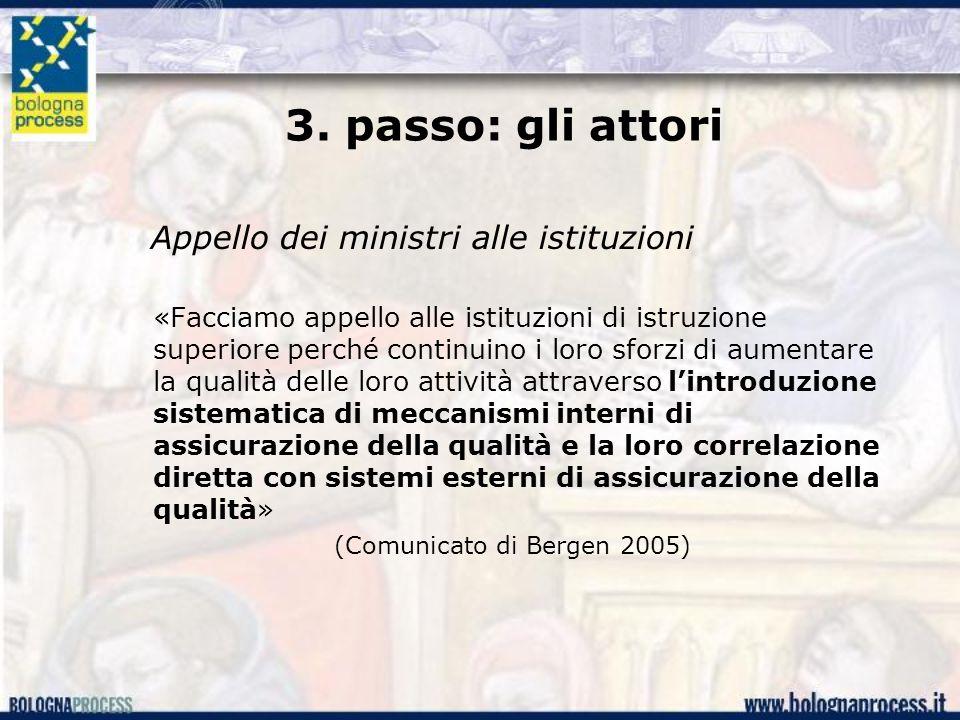 3. passo: gli attori Appello dei ministri alle istituzioni «Facciamo appello alle istituzioni di istruzione superiore perché continuino i loro sforzi