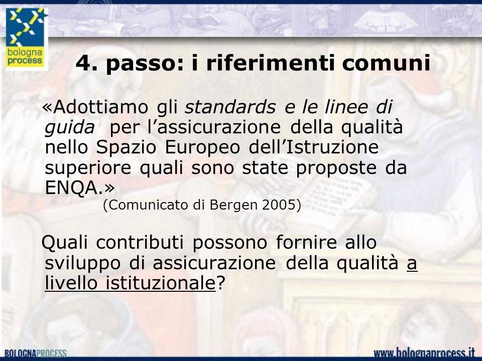 4. passo: i riferimenti comuni «Adottiamo gli standards e le linee di guida per l'assicurazione della qualità nello Spazio Europeo dell'Istruzione sup