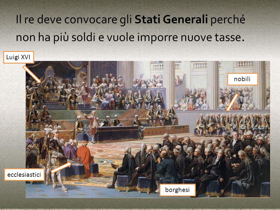 Il re deve convocare gli Stati Generali perché non ha più soldi e vuole imporre nuove tasse. nobili ecclesiastici Luigi XVI borghesi