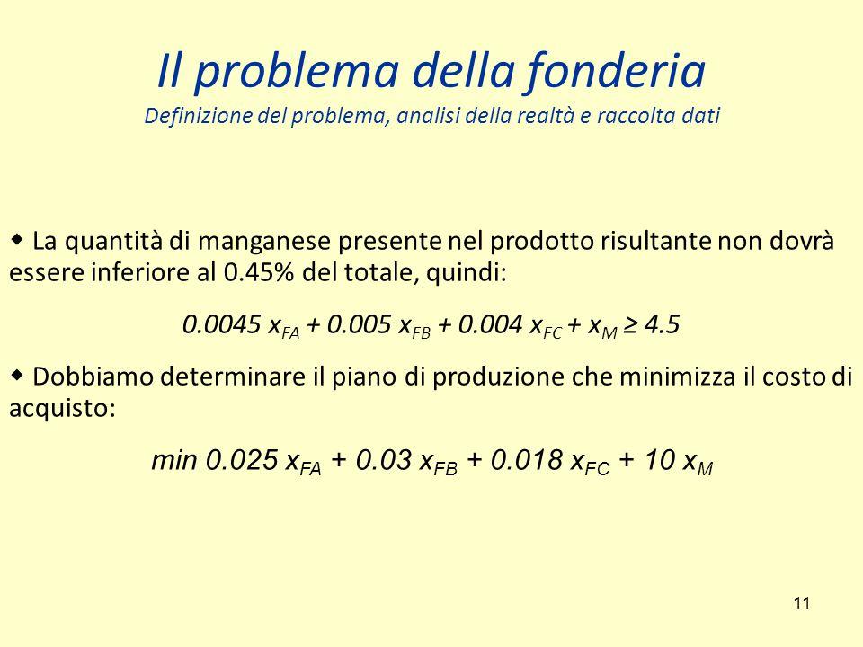 11 Il problema della fonderia Definizione del problema, analisi della realtà e raccolta dati  La quantità di manganese presente nel prodotto risultante non dovrà essere inferiore al 0.45% del totale, quindi: 0.0045 x FA + 0.005 x FB + 0.004 x FC + x M ≥ 4.5  Dobbiamo determinare il piano di produzione che minimizza il costo di acquisto: min 0.025 x FA + 0.03 x FB + 0.018 x FC + 10 x M
