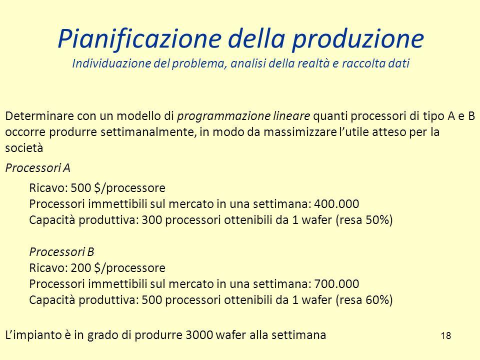 18 Determinare con un modello di programmazione lineare quanti processori di tipo A e B occorre produrre settimanalmente, in modo da massimizzare l'utile atteso per la società Processori A Ricavo: 500 $/processore Processori immettibili sul mercato in una settimana: 400.000 Capacità produttiva: 300 processori ottenibili da 1 wafer (resa 50%) Processori B Ricavo: 200 $/processore Processori immettibili sul mercato in una settimana: 700.000 Capacità produttiva: 500 processori ottenibili da 1 wafer (resa 60%) L'impianto è in grado di produrre 3000 wafer alla settimana Pianificazione della produzione Individuazione del problema, analisi della realtà e raccolta dati