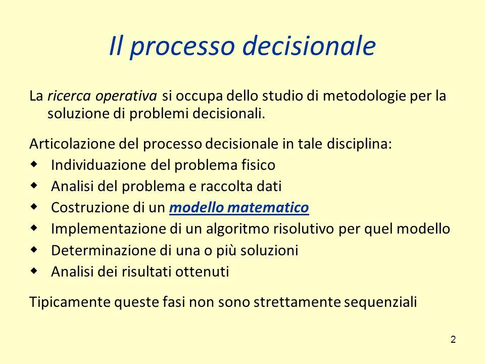 2 Il processo decisionale La ricerca operativa si occupa dello studio di metodologie per la soluzione di problemi decisionali.