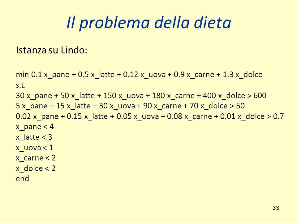 33 Il problema della dieta Istanza su Lindo: min 0.1 x_pane + 0.5 x_latte + 0.12 x_uova + 0.9 x_carne + 1.3 x_dolce s.t.
