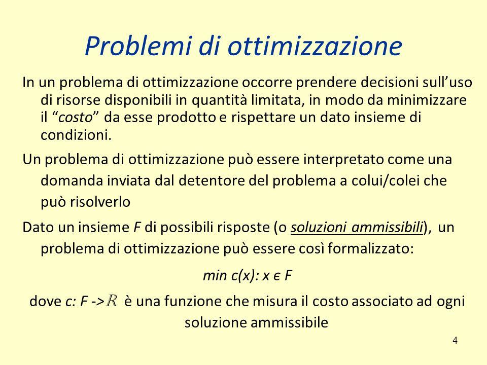 5 Problemi di ottimizzazione Un problema di ottimizzazione presenta dei parametri, in generale lasciati indeterminati, e delle proprietà che devono caratterizzare la risposta (o soluzione) desiderata Un'istanza di un dato problema di ottimizzazione è la domanda che si ottiene specificando particolari valori per tutti i parametri del problema La formalizzazione di un problema di ottimizzazione a partire da un problema fisico avviene attraverso un processo di modellazione del problema