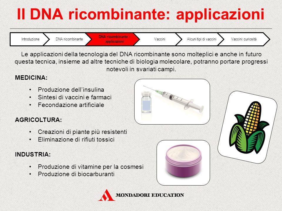 Il DNA ricombinante: applicazioni MEDICINA: Produzione dell'insulina Sintesi di vaccini e farmaci Fecondazione artificiale AGRICOLTURA: Creazioni di p
