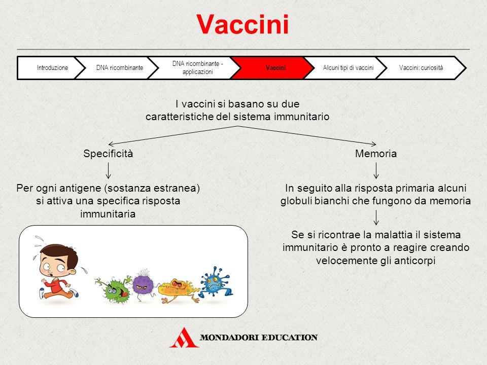 Vaccini I vaccini si basano su due caratteristiche del sistema immunitario SpecificitàMemoria Per ogni antigene (sostanza estranea) si attiva una specifica risposta immunitaria In seguito alla risposta primaria alcuni globuli bianchi che fungono da memoria Se si ricontrae la malattia il sistema immunitario è pronto a reagire creando velocemente gli anticorpi IntroduzioneDNA ricombinante DNA ricombinante - applicazioni Vaccini Alcuni tipi di vacciniVaccini: curiosità