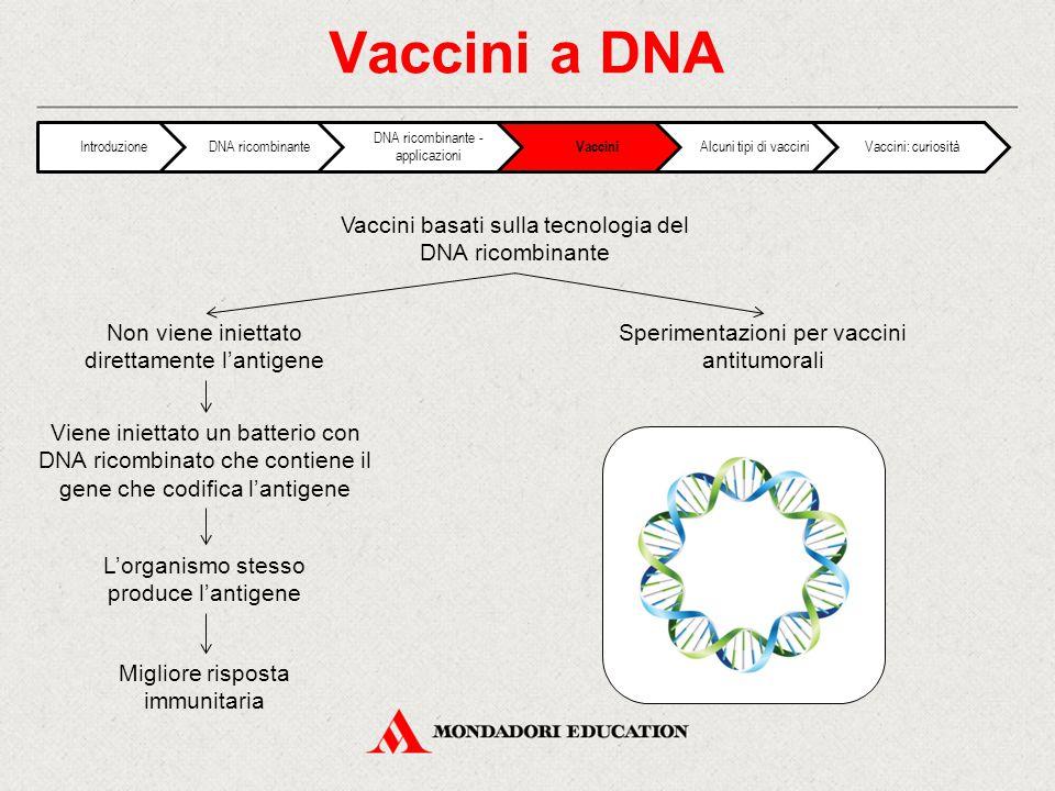 Vaccini a DNA Vaccini basati sulla tecnologia del DNA ricombinante Non viene iniettato direttamente l'antigene Sperimentazioni per vaccini antitumorali Viene iniettato un batterio con DNA ricombinato che contiene il gene che codifica l'antigene L'organismo stesso produce l'antigene Migliore risposta immunitaria IntroduzioneDNA ricombinante DNA ricombinante - applicazioni Vaccini Alcuni tipi di vacciniVaccini: curiosità