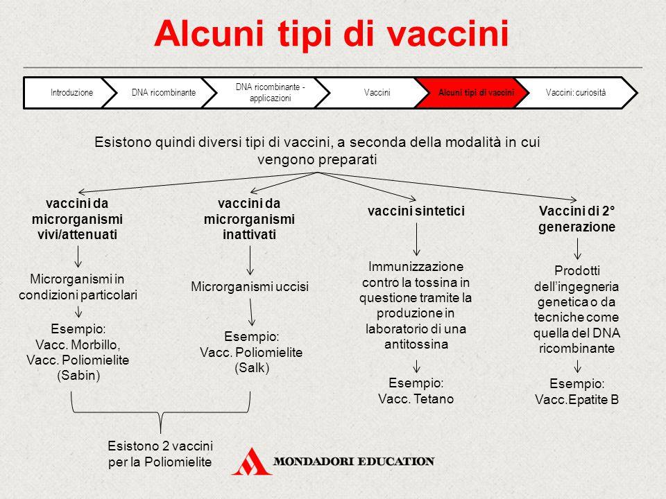 Alcuni tipi di vaccini Esistono quindi diversi tipi di vaccini, a seconda della modalità in cui vengono preparati Vaccini di 2° generazione Microrganismi in condizioni particolari vaccini sintetici vaccini da microrganismi vivi/attenuati vaccini da microrganismi inattivati Esempio: Vacc.