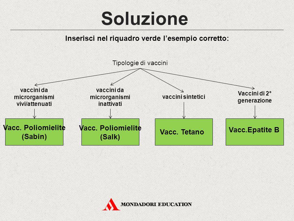 Soluzione Inserisci nel riquadro verde l'esempio corretto: Tipologie di vaccini Vaccini di 2° generazione vaccini sintetici vaccini da microrganismi v