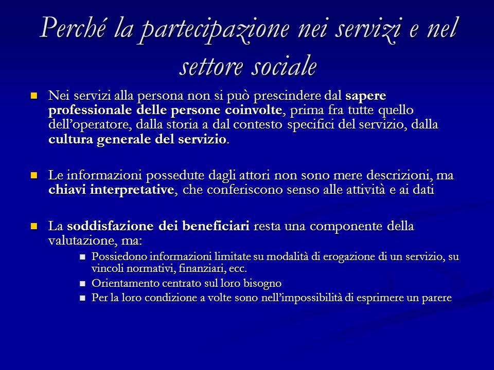 Perché la partecipazione nei servizi e nel settore sociale Nei servizi alla persona non si può prescindere dal sapere professionale delle persone coinvolte, prima fra tutte quello dell'operatore, dalla storia a dal contesto specifici del servizio, dalla cultura generale del servizio.