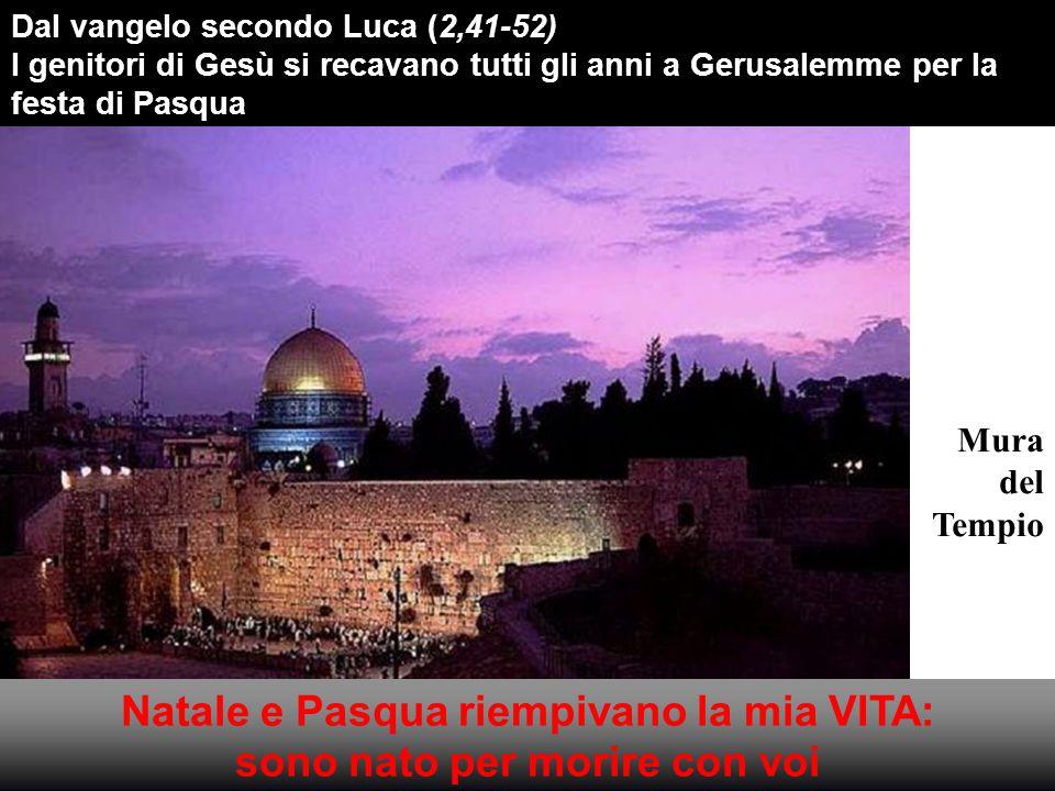 Mura del Tempio Dal vangelo secondo Luca (2,41-52) I genitori di Gesù si recavano tutti gli anni a Gerusalemme per la festa di Pasqua Natale e Pasqua riempivano la mia VITA: sono nato per morire con voi