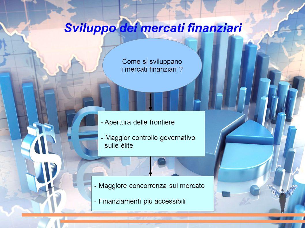 Sviluppo dei mercati finanziari Come si sviluppano i mercati finanziari ? - Apertura delle frontiere - Maggior controllo governativo sulle élite - Mag