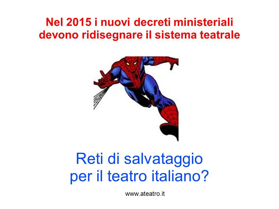 www.ateatro.it Reti di salvataggio per il teatro italiano? Nel 2015 i nuovi decreti ministeriali devono ridisegnare il sistema teatrale