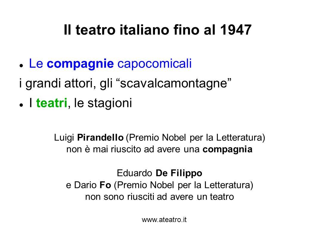 """www.ateatro.it Il teatro italiano fino al 1947 Le compagnie capocomicali i grandi attori, gli """"scavalcamontagne"""" I teatri, le stagioni Luigi Pirandell"""