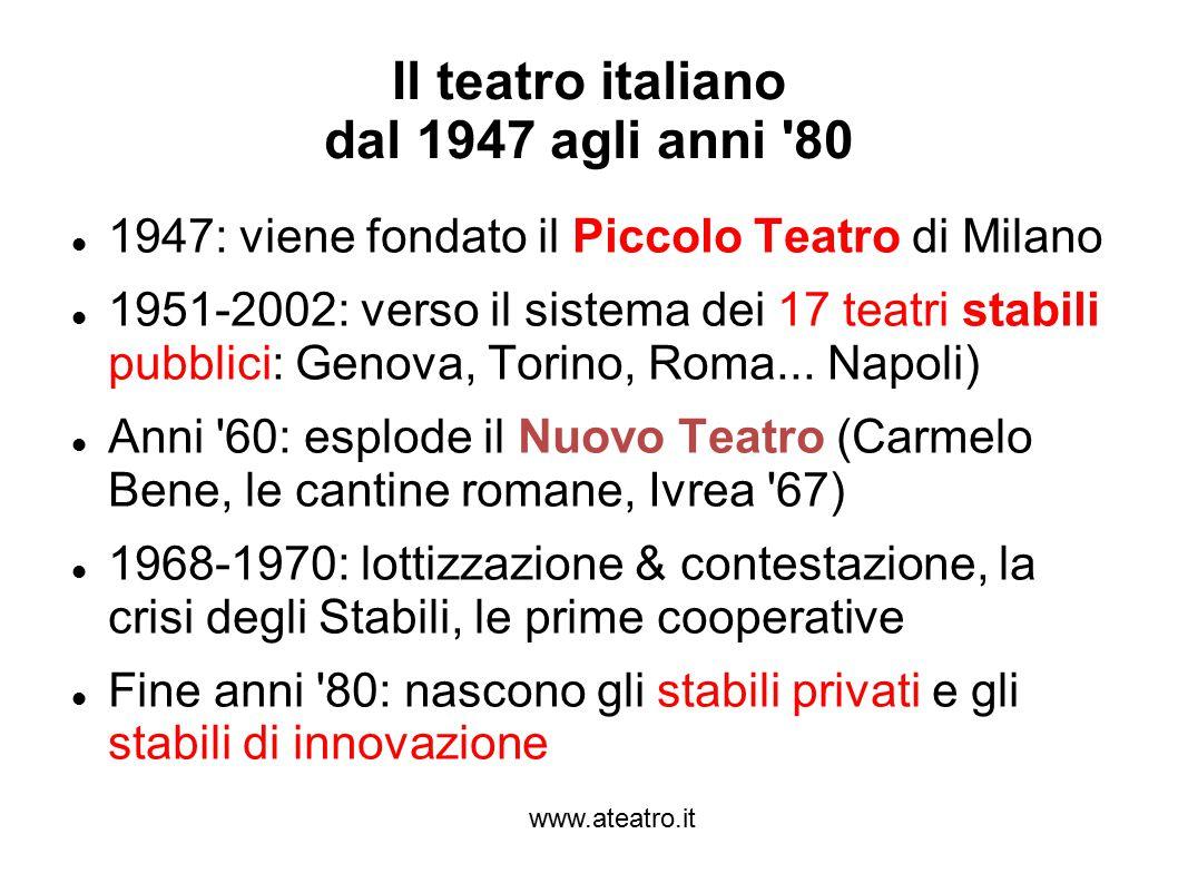 www.ateatro.it Il teatro italiano dal 1947 agli anni 80 1947: viene fondato il Piccolo Teatro di Milano 1951-2002: verso il sistema dei 17 teatri stabili pubblici: Genova, Torino, Roma...